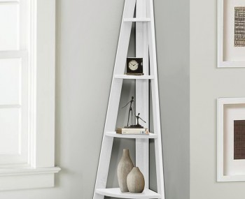 Nordic White Corner Ladder Shelf Bookcase
