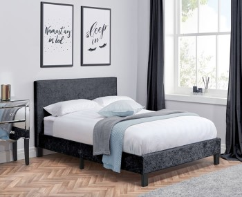 Alexa Black Crushed Velvet Upholstered Bed Frame