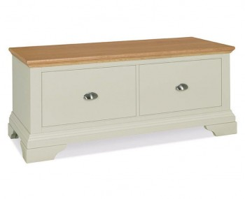 Hampstead Soft Grey And Oak Blanket Box