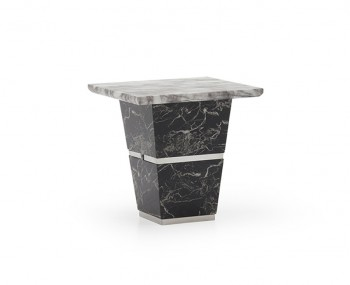 Valdina Black and White Marble Lamp Table