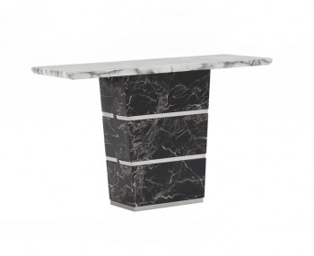 Valdina Black and White Marble Console Table