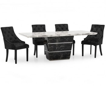 Valdina Small Black and White Marble Dining Set