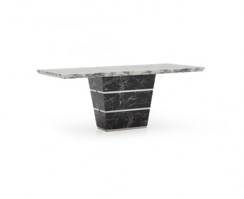 Valdina Large Black and White Marble Dining Table