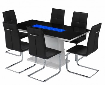 Data LED Black Glass and White High Gloss Dining Set