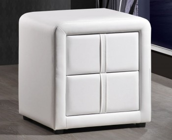 Larvotto White Faux Leather Bedside Chest *Special Offer*