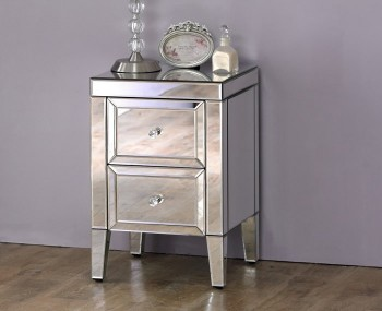 Valencia Mirrored 2 Drawer Bedside Chest