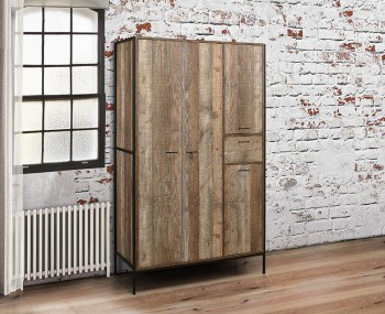 Ashvale Urban Wooden 4 Door Combi Wardrobe