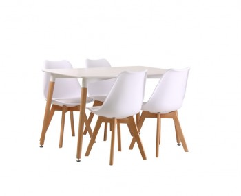 Leral White Dining Table and Chairs