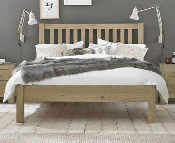 Renzo Aged Oak 4ft 6 Slatted Low Footend Bed Frame *Special Offer*