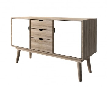 Scandi Oak Effect Two Door Three Drawer Sideboard