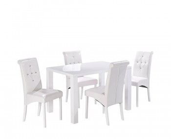 Puro White High Gloss Medium Dining Table