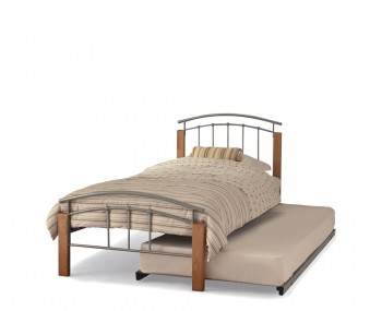 Tetras Silver Metal and Beech Guest Bed