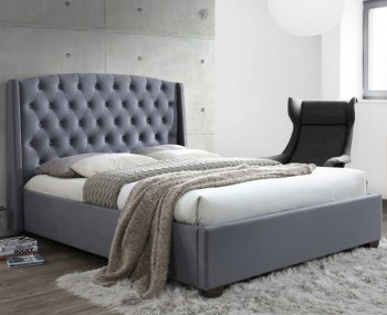Newton Upholstered Grey Velvet Bed