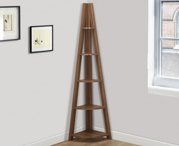 Nordic Walnut Corner Ladder Bookcase