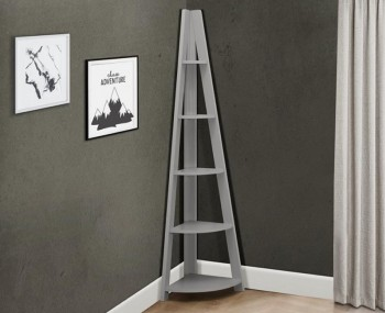 Nordic Grey Corner Ladder Shelf Bookcase