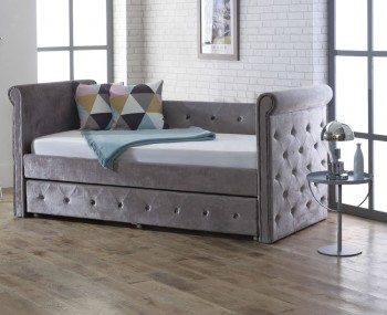 Zodiac 3ft Silver Velvet Upholstered Day Bed