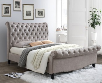 Lainey Mink Velvet Upholstered Bed Frame
