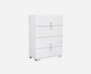 Natasha White High Gloss 4 Drawer Tall Chest