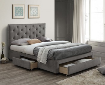 Claude Grey Marl Upholstered Storage Bed Frame