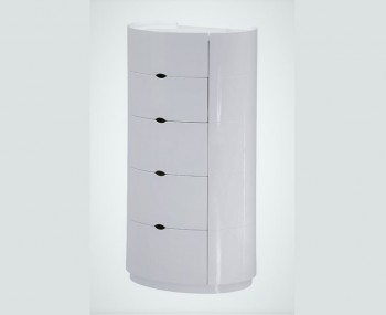 Patterson White High Gloss 5 Drawer Chest