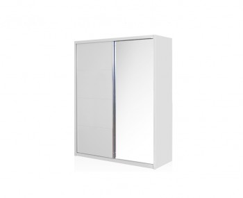 Patterson White High Gloss Mirror Sliding Wardrobe