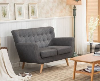 Adoni Grey 2 Seater Retro Sofa