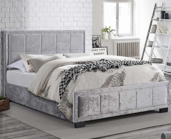 Lage Steel Velvet Upholstered Bed Frame