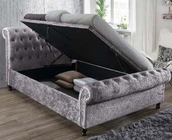 Francesco Steel Velvet Upholstered Ottoman Bed