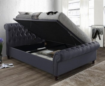 Francesco Charcoal Upholstered Ottoman Bed