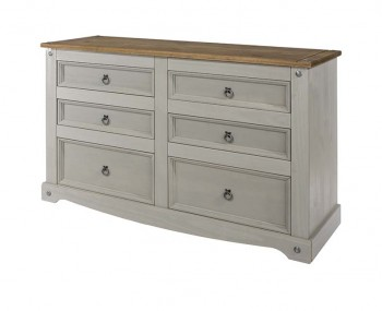 Estrella Grey 3+3 Wide Drawer Chest