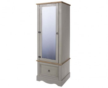 Estrella Grey Mirrored 1 Door Wardrobe