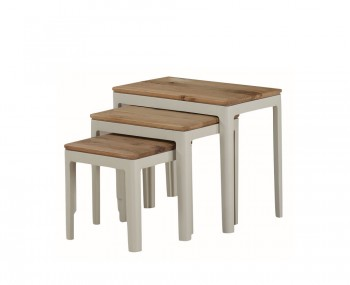 Dunmore Spanish White and Oak Nest of Tables