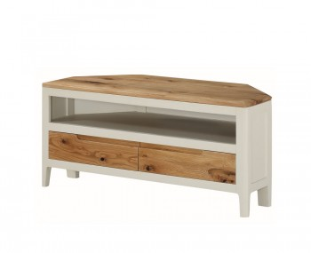 Dunmore Spanish White and Oak Corner TV Unit