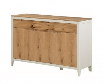 Dunmore Spanish White and Oak 3 Door Sideboard