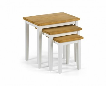 Cleo Natural Oak and White Nest of Tables