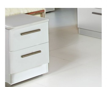 Queen 2 Drawer White High Gloss Bedside Chest *Special Offer*