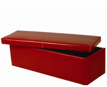 Toni Large Red Faux Leather Ottoman