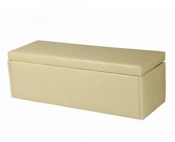 Toni Large Cream Faux Leather Ottoman