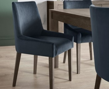 Ella Dark Oak and Dark Blue Velvet Upholstered Dining Chair