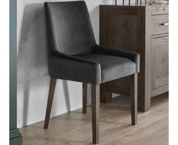 Ella Dark Oak and Gun Metal Velvet Upholstered Dining Chair