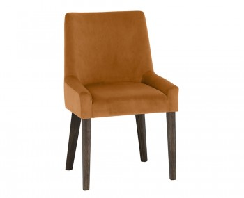 Ella Dark Oak and Harvest Pumpkin Velvet Upholstered Dining Chair