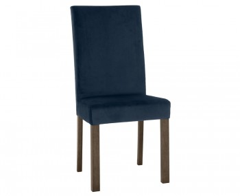 Parker Dark Oak and Dark Blue Velvet Upholstered Dining Chair