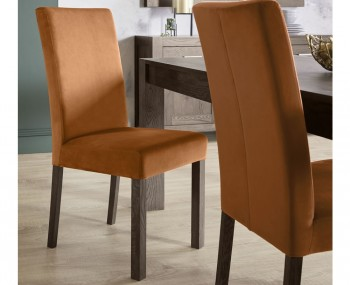Parker Dark Oak and Harvest Pumpkin Velvet Upholstered Dining Chair