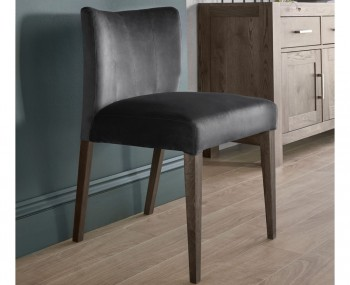 Ventura Dark Oak and Gun Metal Velvet Low Back Upholstered Dining Chairs