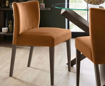 Ventura Dark Oak and Harvest Pumpkin Velvet Low Back Upholstered Dining Chairs