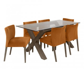 Ventura Dark Oak Glass Dining Set