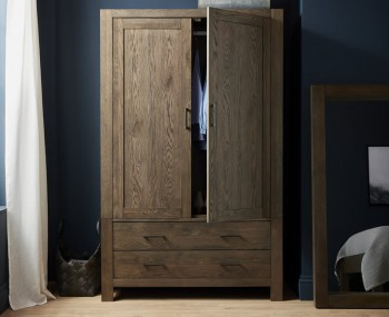 Ventura Dark Oak 2 Door 2 Drawer Wardrobe