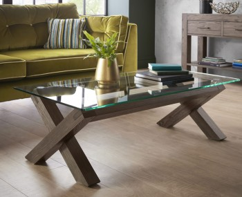 Ventura Dark Oak and Glass Coffee Table