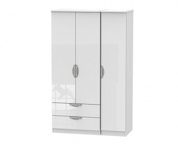 Halifax White High Gloss Triple Combi Wardrobe