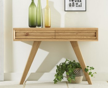 Cadell Rustic Oak Console Table with Drawer